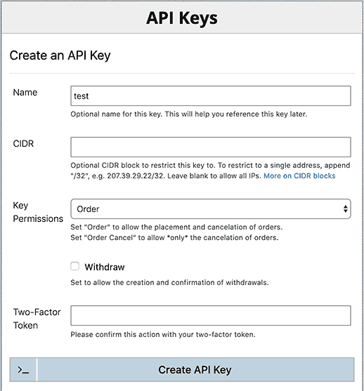 BitMEX API key management